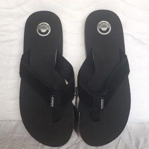 NWT Mens Cords Venice Black & White Suede Sandals